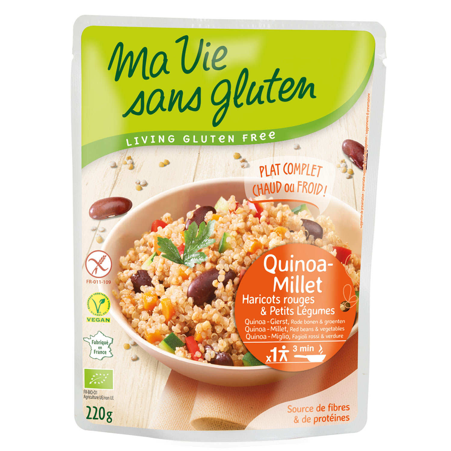Organic and Gluten Free Pre-Cooked Cereals : Quinoa-Millet, Red Beans, Vegetables