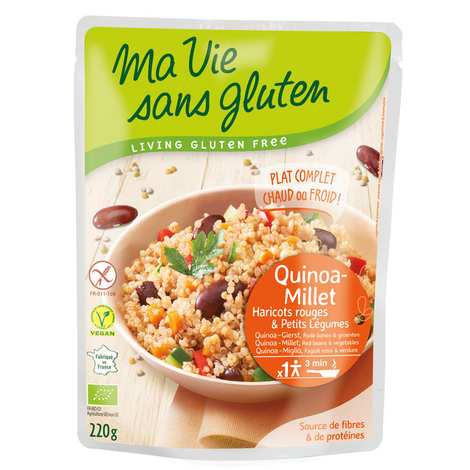 Ma vie sans gluten - Céréales cuisinées quinoa-millet, haricots rouges, légumes bio et sans gluten