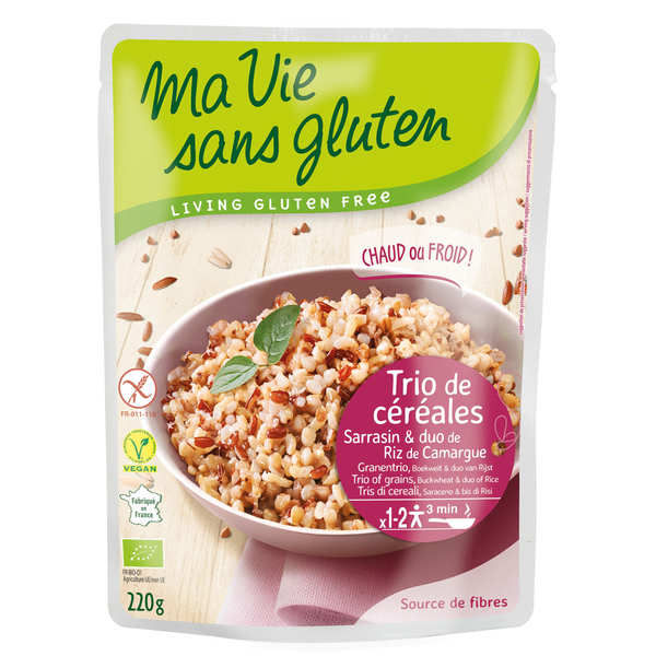 Organic 3 cereals in a natural cooking style : gluten free buckwheat and 2 Camargue rices
