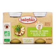 Baby Bio - Petits pots bio pomme de terre et petits pois , dès 6 mois