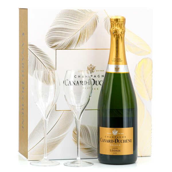 Coffret de champagne cuvée léonie brut - bouteille 75cl + 2 flutes