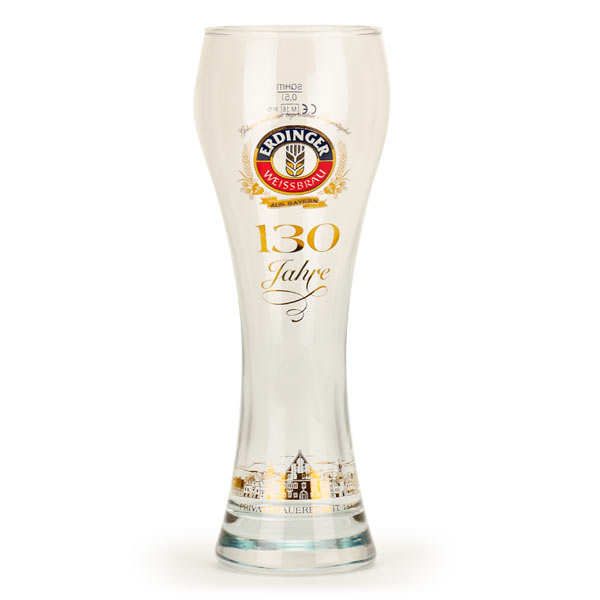 Verre à bière gravé Erdinger 130 ans