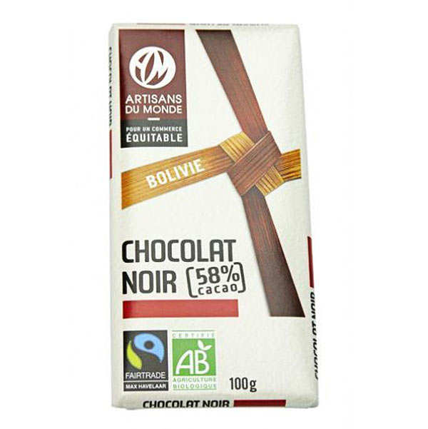 Tablette de chocolat noir de Bolivie bio