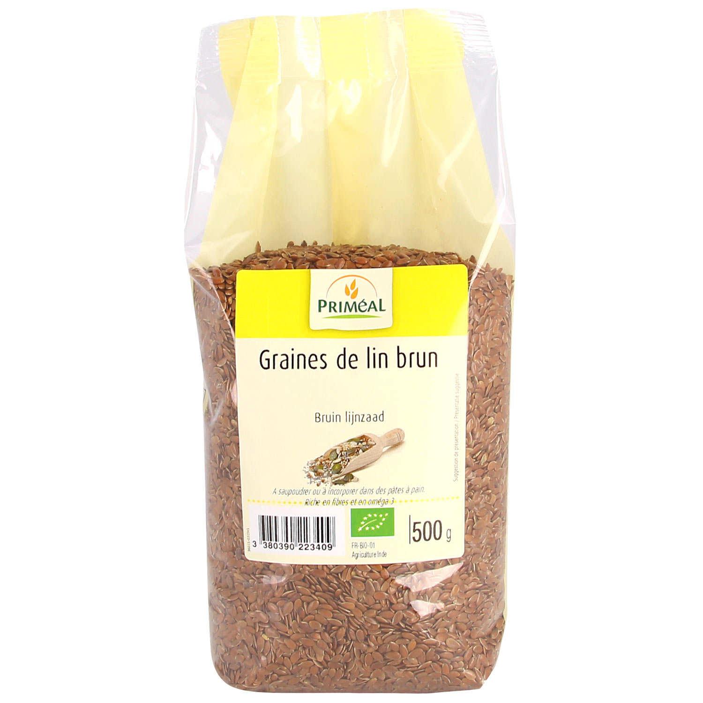 Brown organic linen seeds - 500g