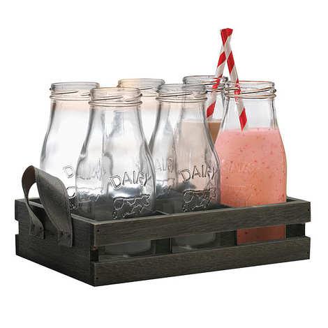 Eddingtons - Coffret 6 bouteilles en verre et pailles