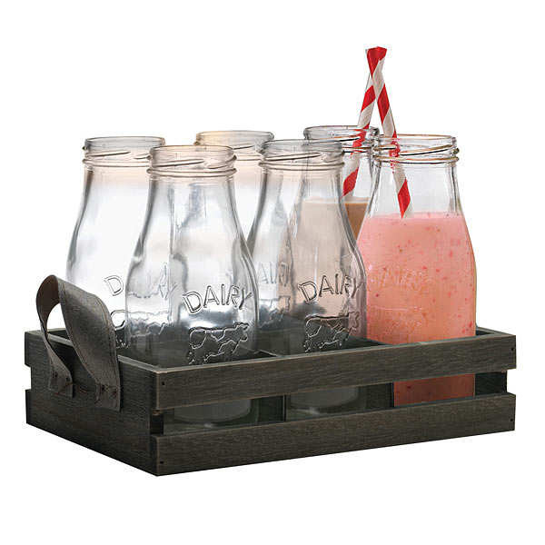 Country Milk Bottle Set - 13 pieces