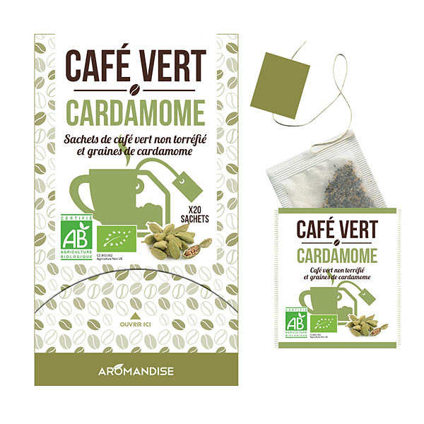 Organic Green Coffee with cardamom in muslin bag