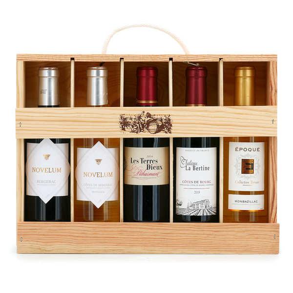 coffret bois 5 vins de bordeaux et dordogne bienmanger paniers garnis. Black Bedroom Furniture Sets. Home Design Ideas