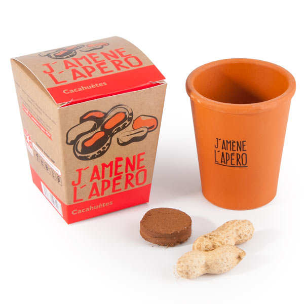 """Pot de culture """"J'amène l'apéro"""" : graines de cacahuètes"""