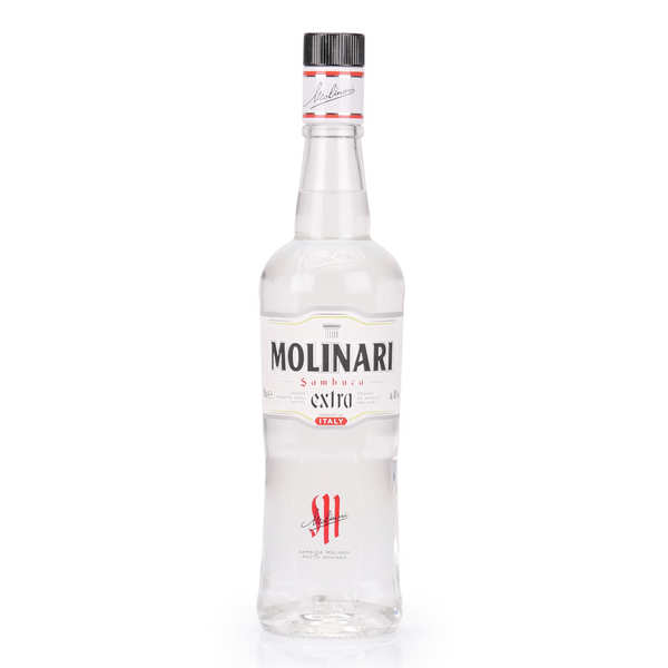 Extra Sambuca Molinari Aniseed Liqueur with its Glass  40%