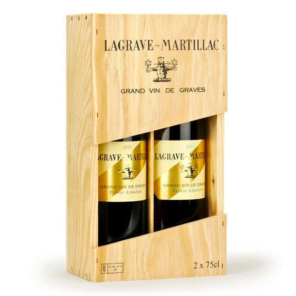 Coffret bois 2 Lagrave Martillac (Pessac Leognan blanc et rouge)