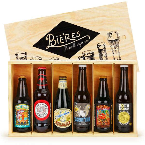 Caisse bois de 6 bières craft du monde