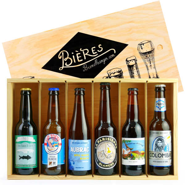 Caisse bois de 6 bières artisanales françaises