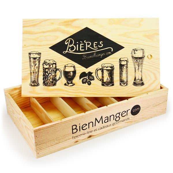 Wooden box with sliding cover for 6 bottles of beer