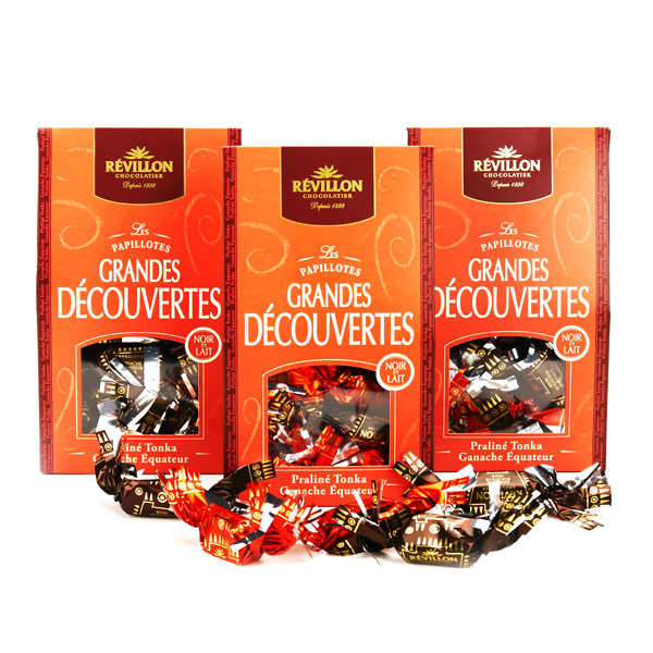 3x240g Christmas Discovery Papillotes Black and Milk Chocolate