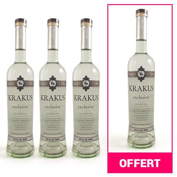 3 bouteilles de Vodka polonaise Krakus Exclusive + 1 offerte