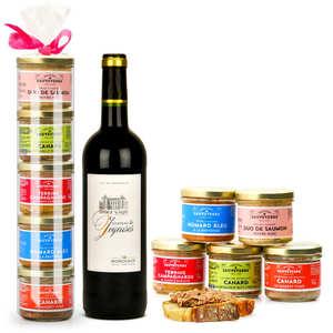 Maison Sauveterre - Les 5 terrines Sauveterre et le vin rouge Château Les Joyeuses
