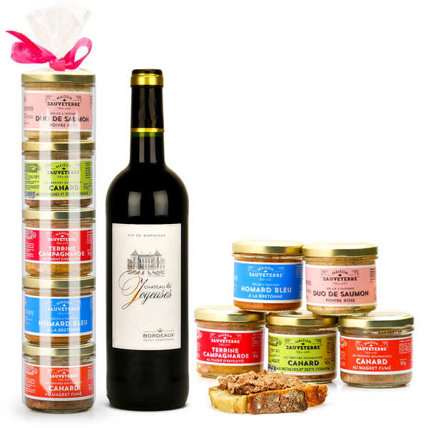 5 Sauveterre Terrines and 1 Château Les Joyeuses Red Wine Bottle