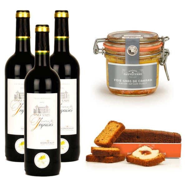 Assortiment foie gras de canard entier, pain d'épices et vin rouge