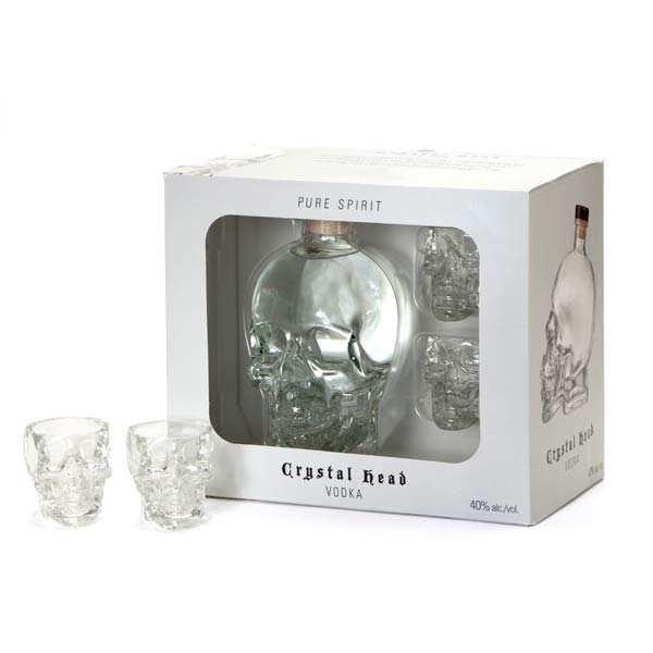 Vodka Crystal Head 40% - Coffret 2 verres à shot