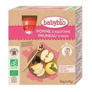Baby Bio - 4 gourdes bio pomme d'Aquitaine, pruneau d'Agen dès 6 mois