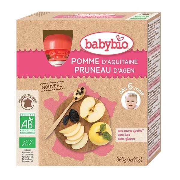 4 gourdes bio pomme d'Aquitaine, pruneau d'Agen dès 6 mois