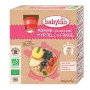 Baby Bio - 4 gourdes bio pomme d'Aquitaine, myrtille et fraise dès 6 mois