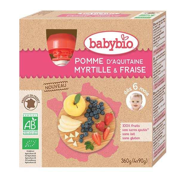 4 gourdes bio pomme d'Aquitaine, myrtille et fraise dès 6 mois