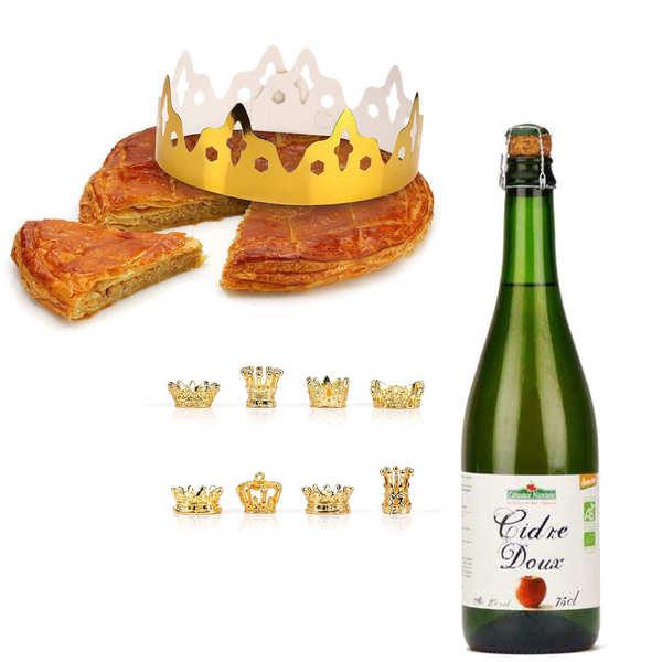 Galette des rois frangipane with cider bottle