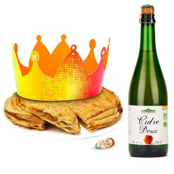 Galette des rois like a tatin with cider bottle