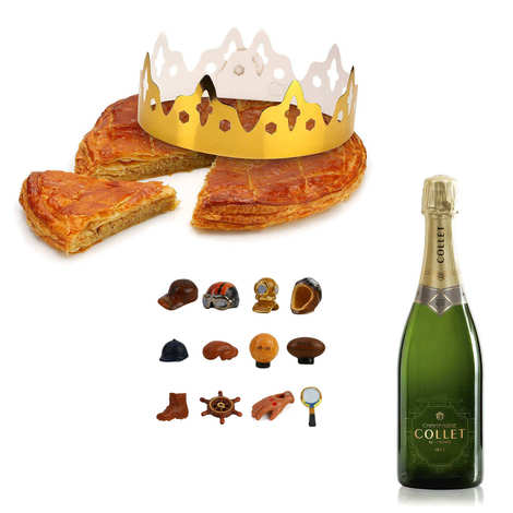 L'Atelier Canourguais - Galette des rois frangipane with a half bottle of Champagne