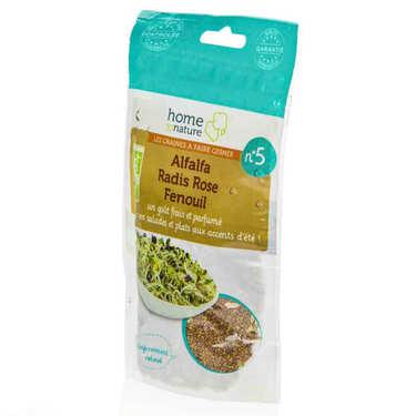 Mélange de Graines à germer bio n°5 : Alfalfa, radis rose, fenouil