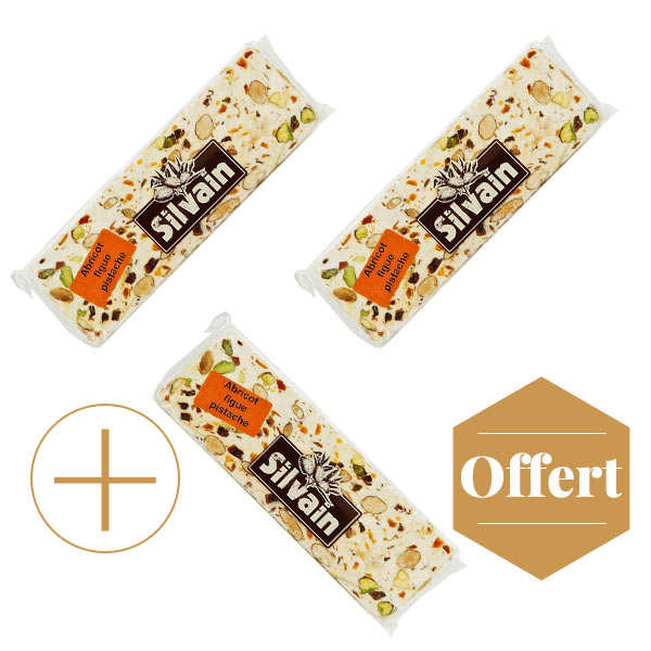 Bar of White Nougat Apricot Fig Pistachio 2+1 for free