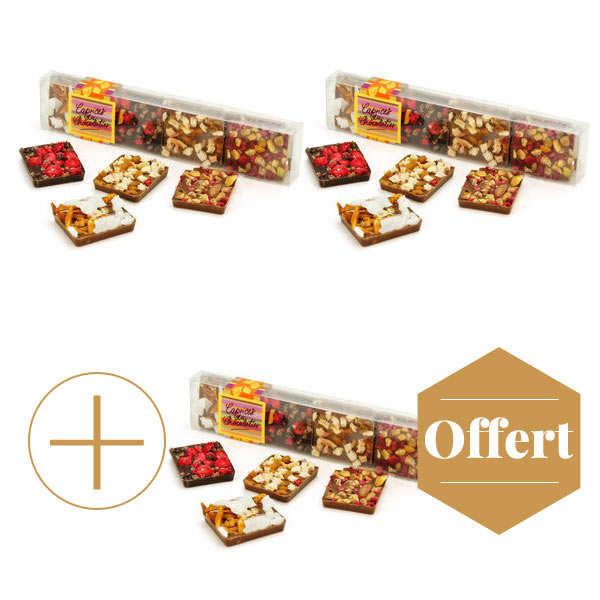 Réglette 8 carrés de chocolats gourmands 2+1 offert