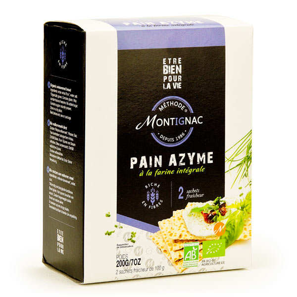 Organic unleavened bread with whole wheat flour - Montignac (200g)