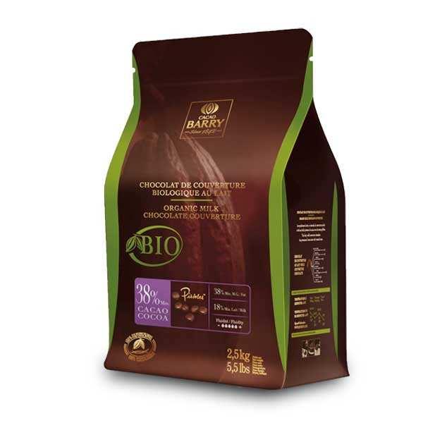 Chocolat de couverture lait bio 38% - en pistoles
