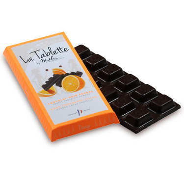 Tablette de chocolat noir fourrée à la truffe et écorces d'orange confite