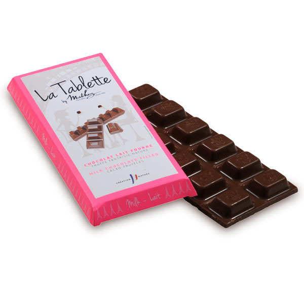Tablette de chocolat lait fourrée à la truffe fantaisie