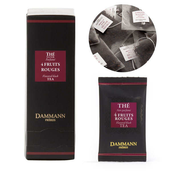 "Black Tea with 4 Red Berries in ""Cristal"" sachets by Dammann Frères"