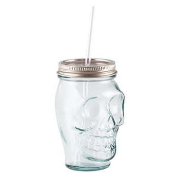 Quai Sud - Skull And Crossbones Glass With Cap And Straw