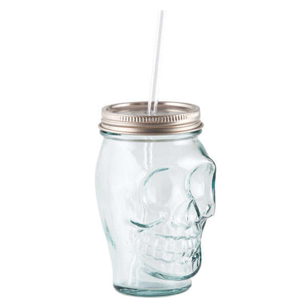 Skull And Crossbones Glass With Cap And Straw
