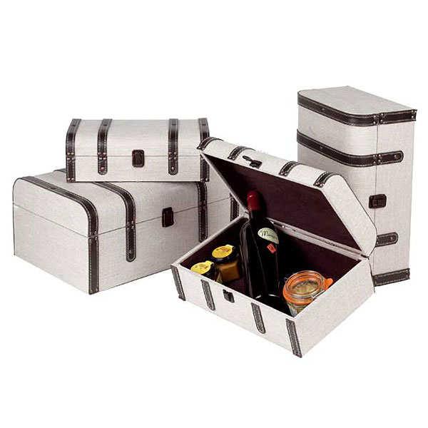 Coffret bois tissu crème bandes façon cuir - Dimensions 42.5 x 29 x 18 cm.