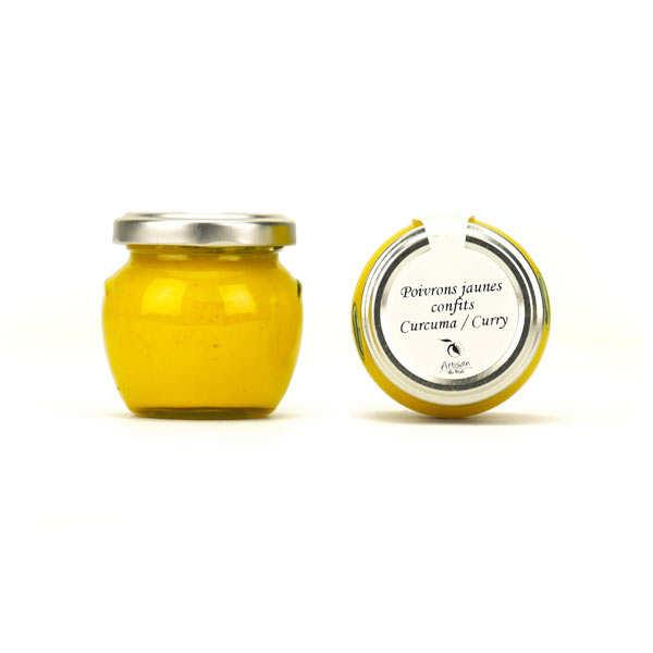 Crème de poivrons jaunes confits au curcuma et au curry