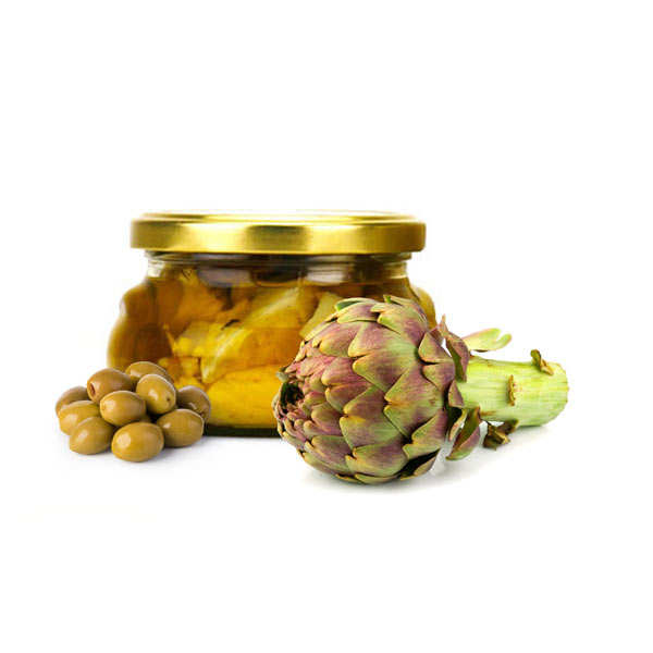 Artichokes And Green Olive In A Spicy Marinade