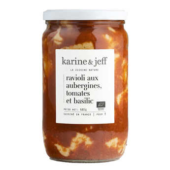 Karine & Jeff - Raviolis aux aubergines, tomate et basilic bio
