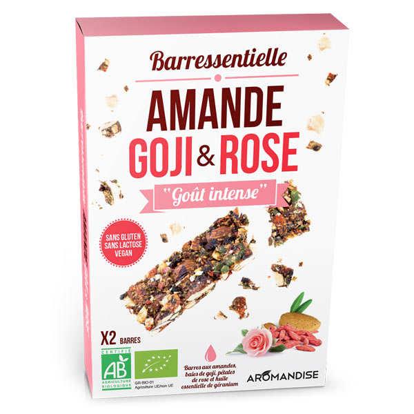 Barre aux amandes, goji, rose et huile essentielle de géranium bio