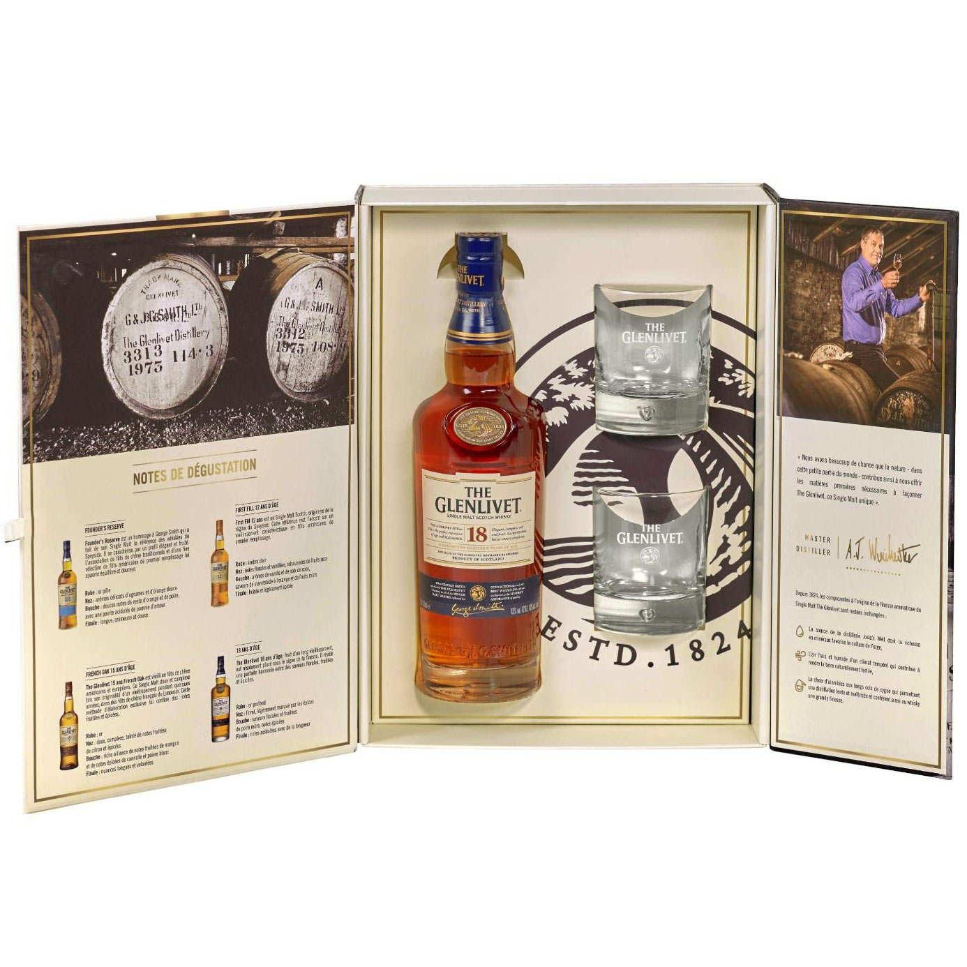 The Glenlivet Whisky 18 Years - 4 Glasses Case 43%