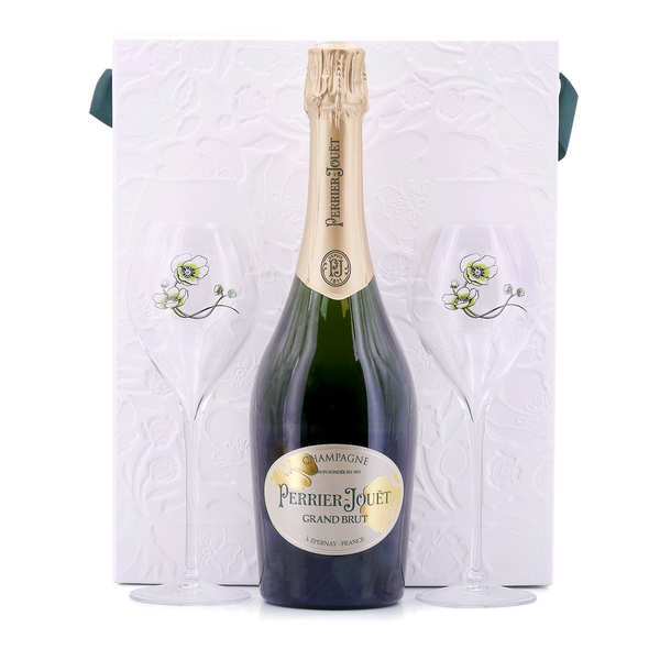 champagne perrier jou t grand brut coffret 2 verres champagne perrier jou t. Black Bedroom Furniture Sets. Home Design Ideas