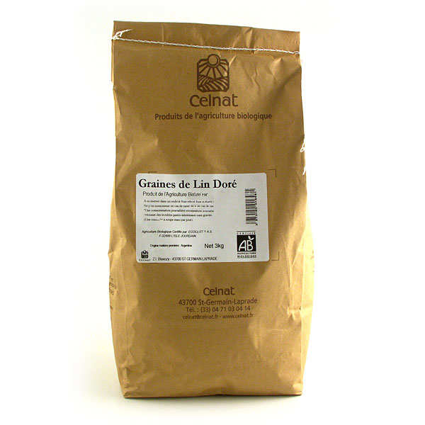 Organic golden flax seeds - 3kg bag