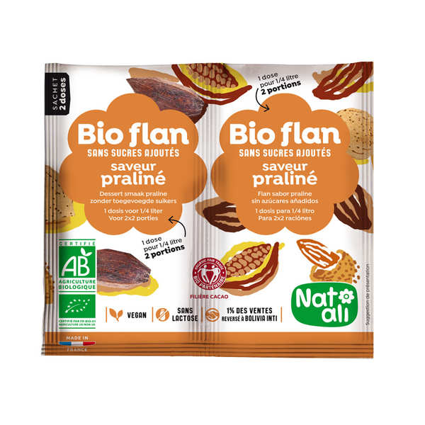 Bio flan non sucré parfum praliné